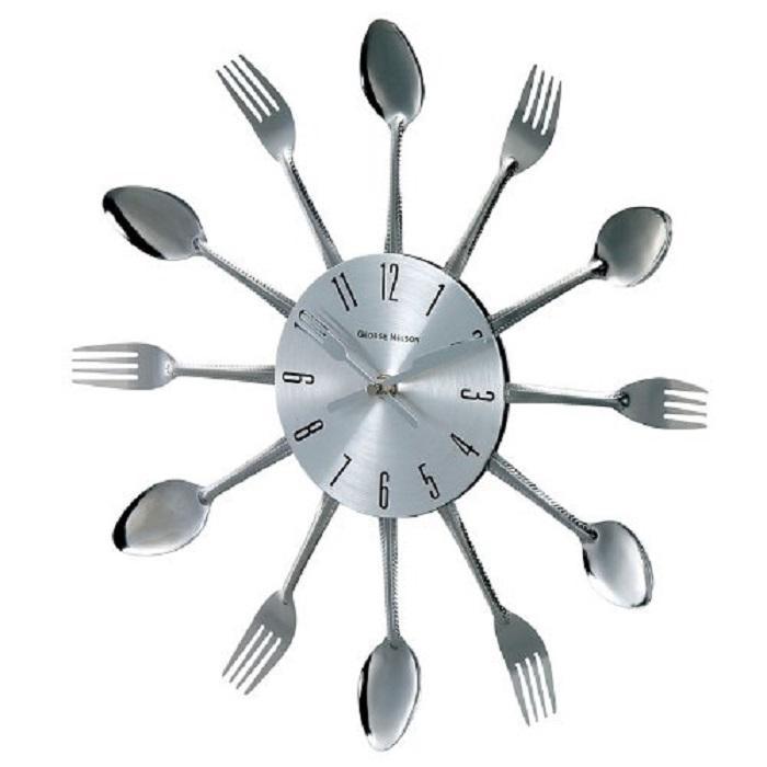 Spoon Fork Clock Silver