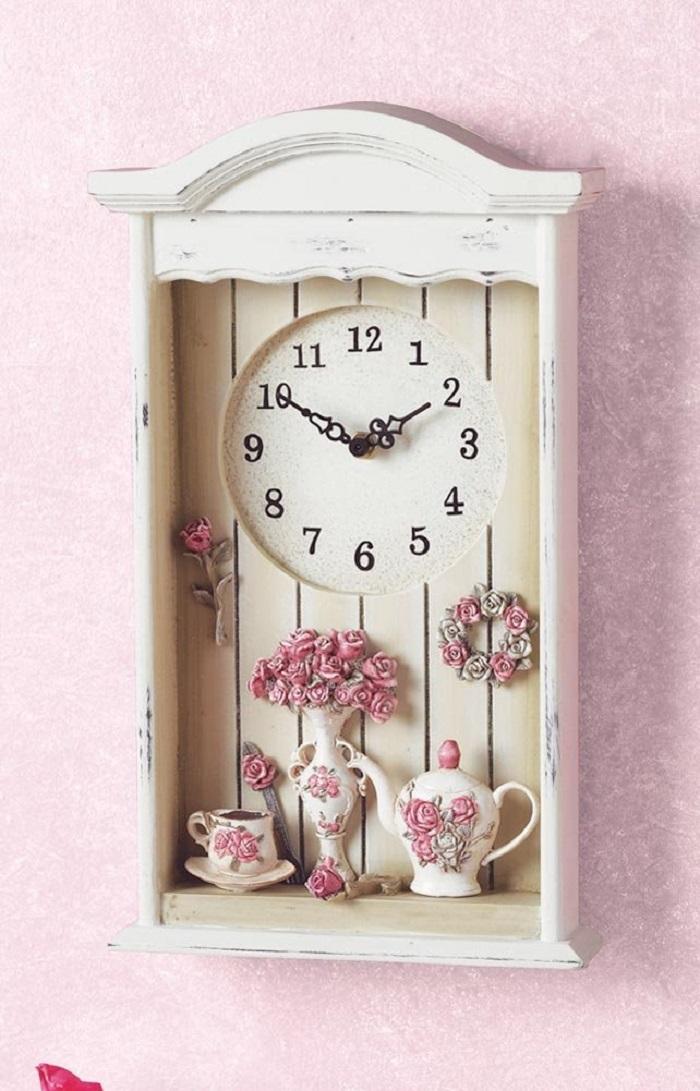 Victorian Tea Set Shadow Box Wall Clock