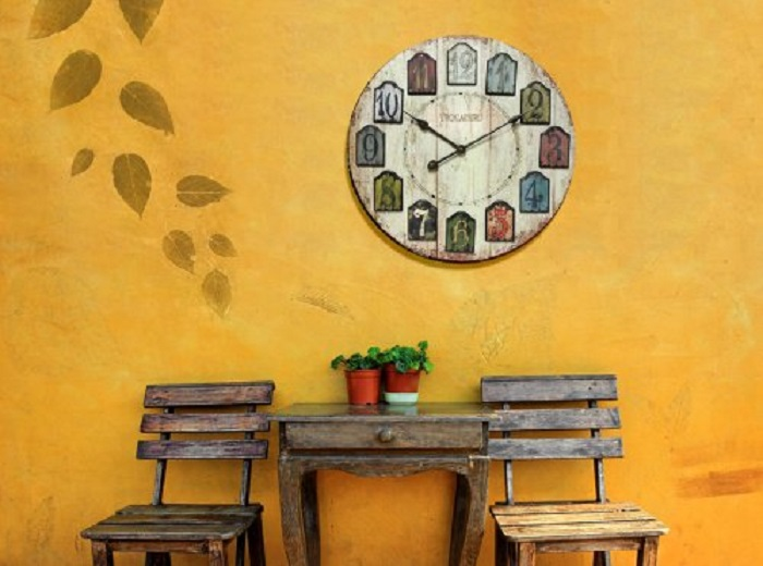 Weathered Plank Wood Wall Clock
