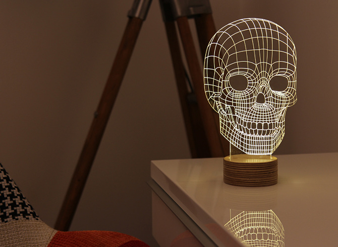 Skull Shaped 3D LED Lamp