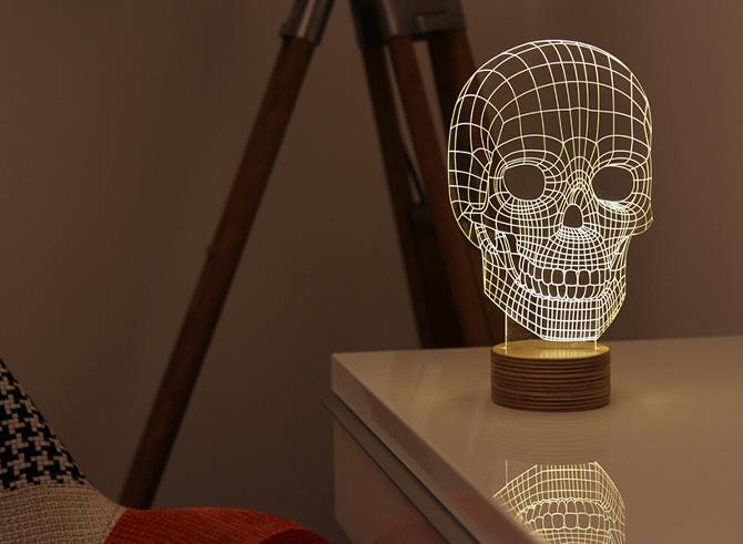 Skull Shaped 3D LED Lamp