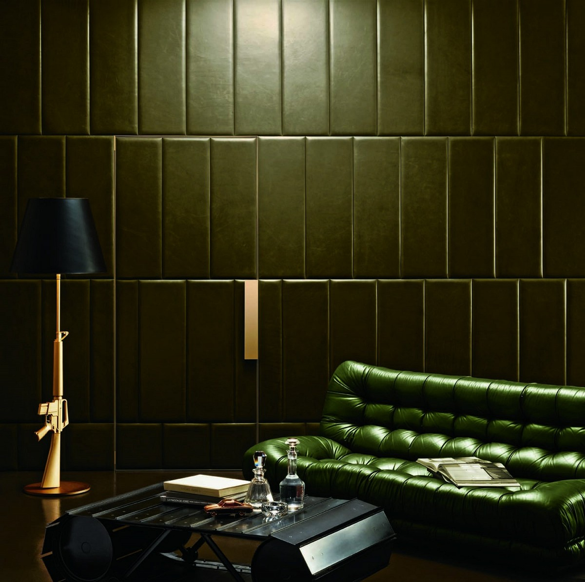 Star kaki Green Wall Pattern
