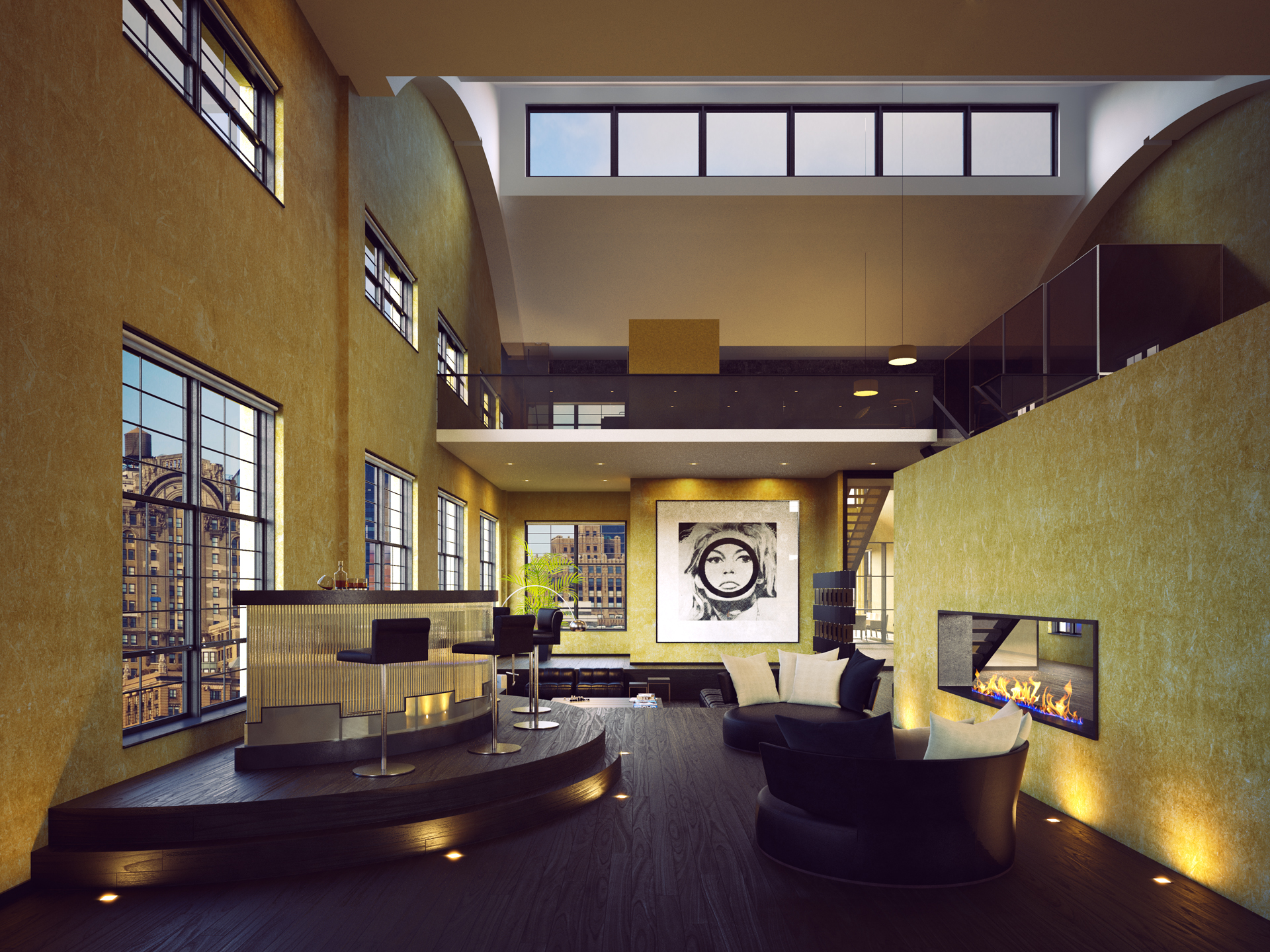 Golden and Black living room