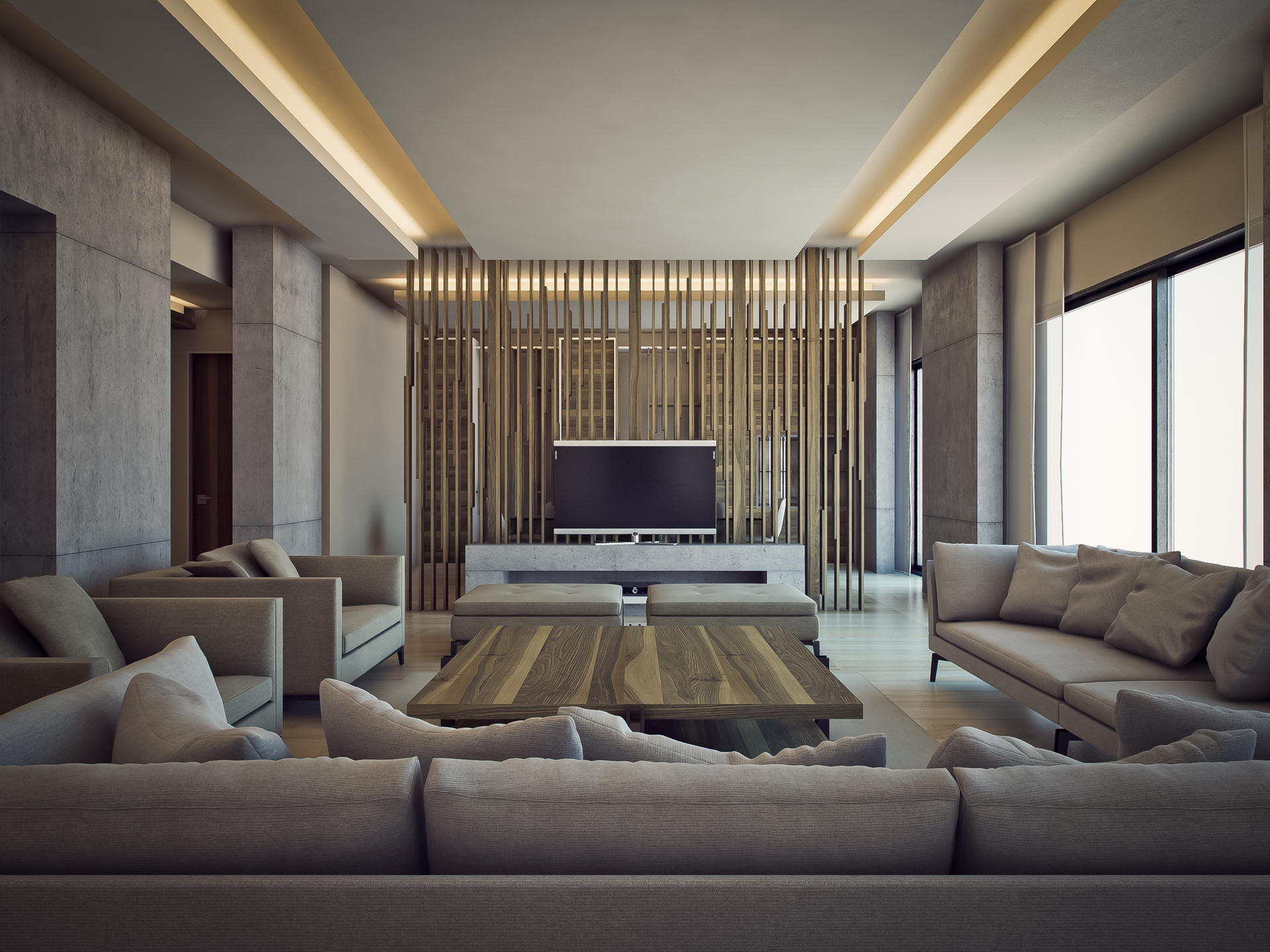 Royal Living Room. TV Wall Design