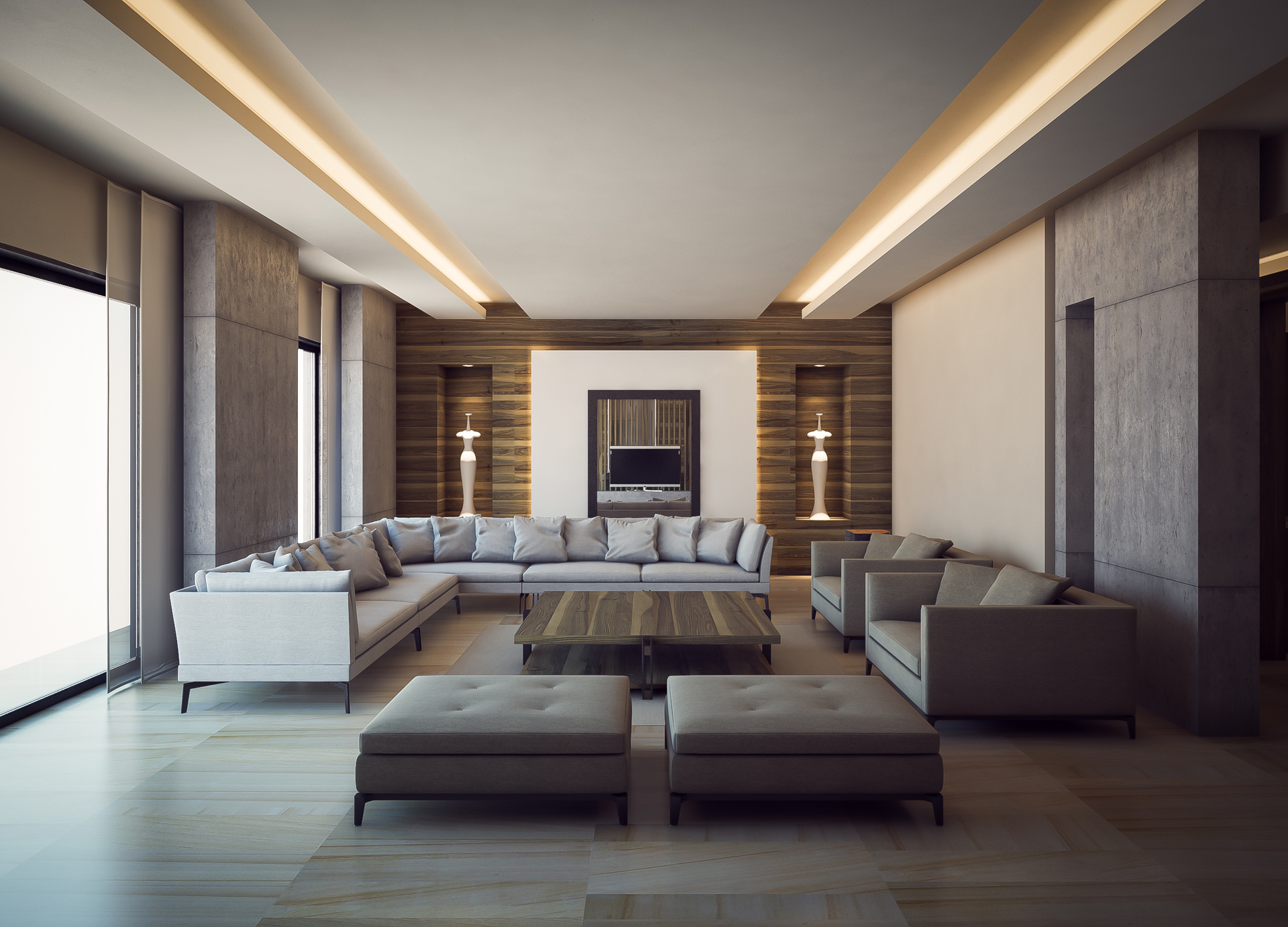 White Couch and Wooden Walls