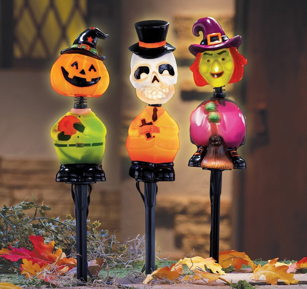halloween bobbleheads garden stakes - Lighted Halloween Decorations