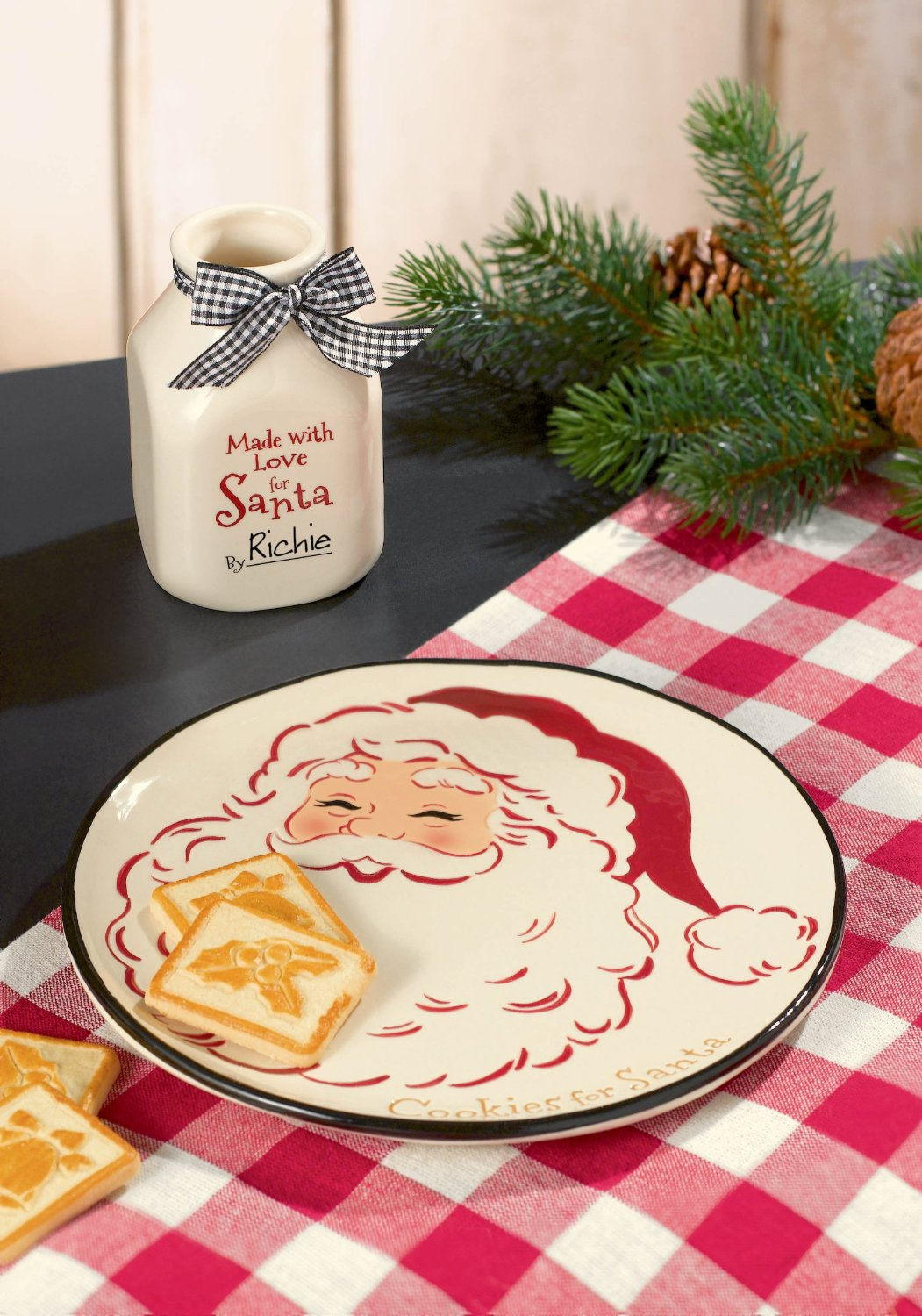 Beautiful Santa Milk and Cookie set