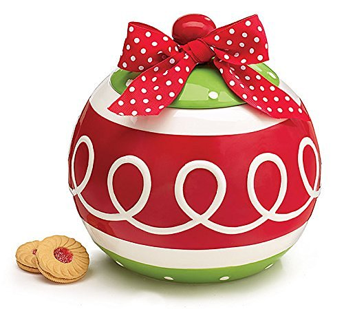 Christmas Ornament Cookie Jar with Red Polka Dot Bow