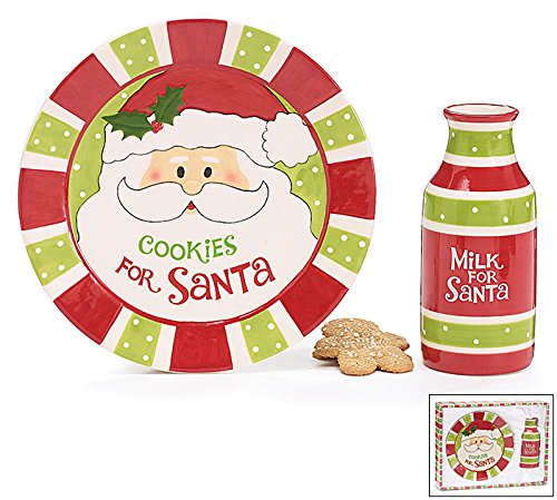 Cookies For Santa Christmas Plate and Milk Bottle
