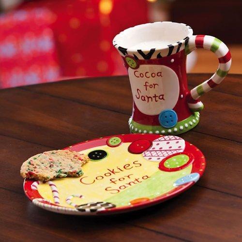 Dear Santa Cookie and Milk Set & Naughty u0026 Nice Santa Cookies Plate and Mug Set | Home Designing