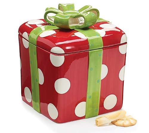 Gift Shaped Christmas Cookie Jar