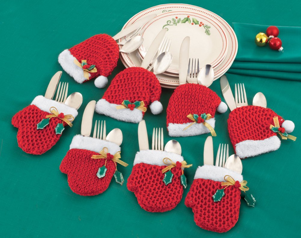 Santa Hats And Mittens Silverware Holders