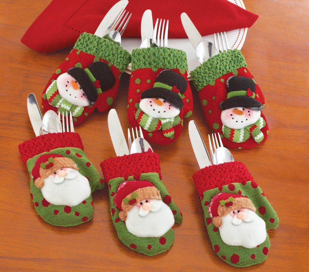 Silverware Christmas Mitten Holders
