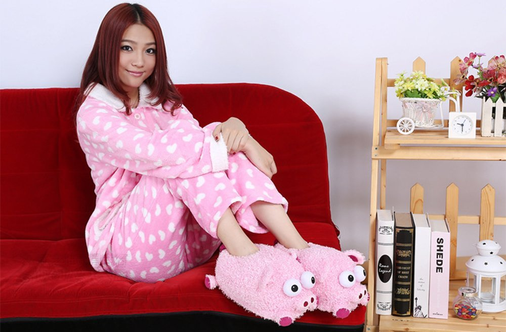 Cute Pink Pig Fuzzy Winter Warm Animal Plush Slippers