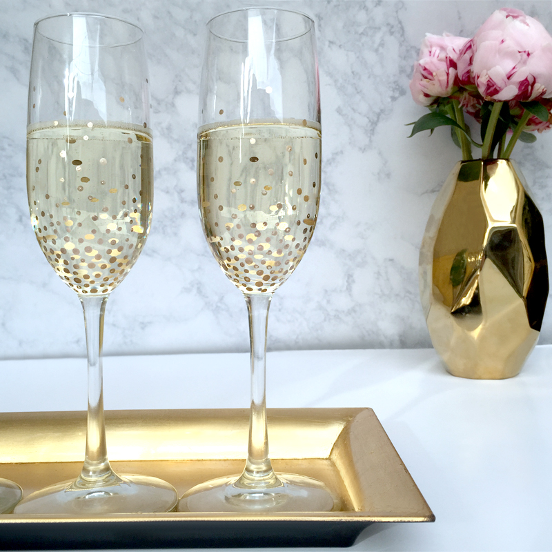 Hand Decorated Golden Champagne Glasses