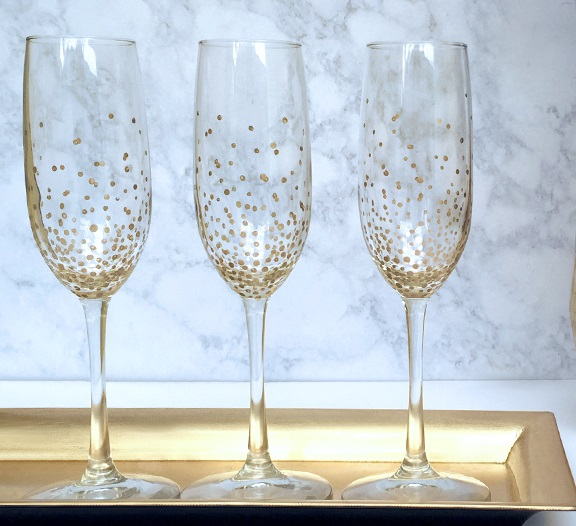Hand Decorated Champagne Glasses