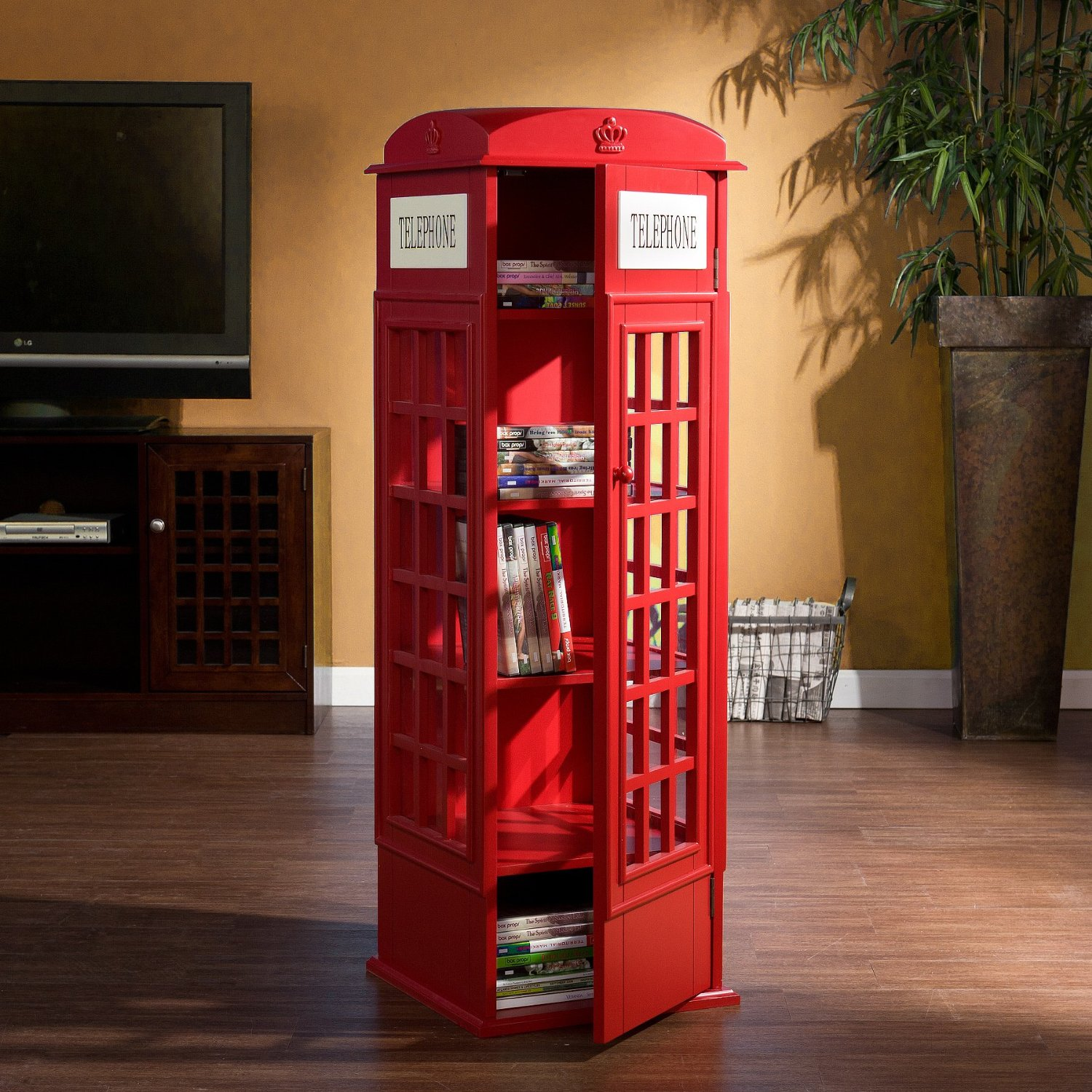 Red Phone Booth Media Cabinet