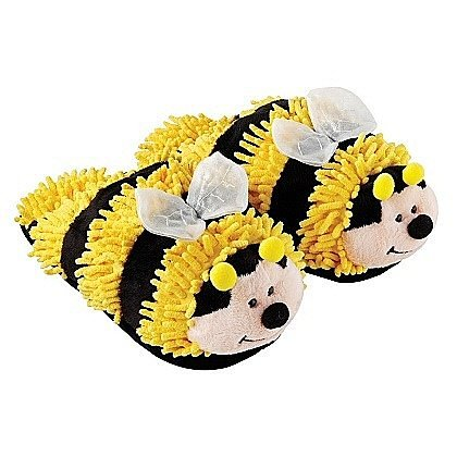 Yellow Bumble Bee Fuzzy Slippers