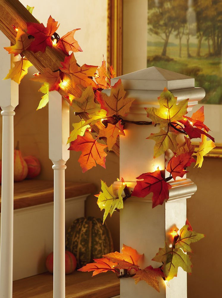 Fall Leaves Lighted Harvest Floral Garland Decoration