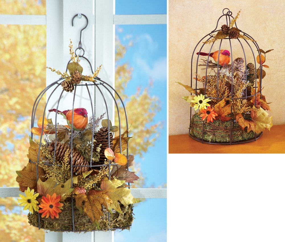 Harvest Birdcage Fall Floral Decoration