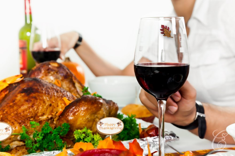 Thanksgiving Magnetic Wine Glass