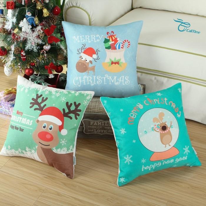 Christmas Cartoon Reindeer Pillow cover