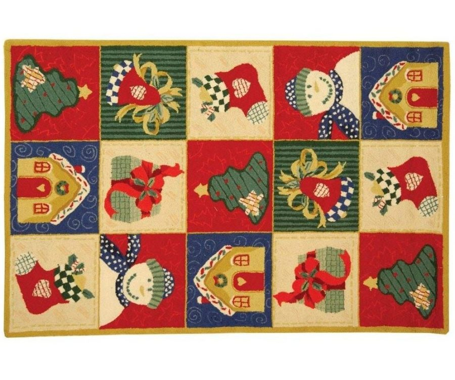 Christmas Hand-Hooked Wool Area Rug