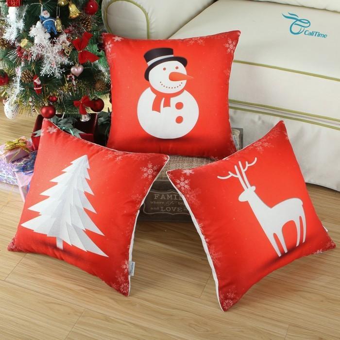 Christmas Holidays Print Snowman Reindeer Tree