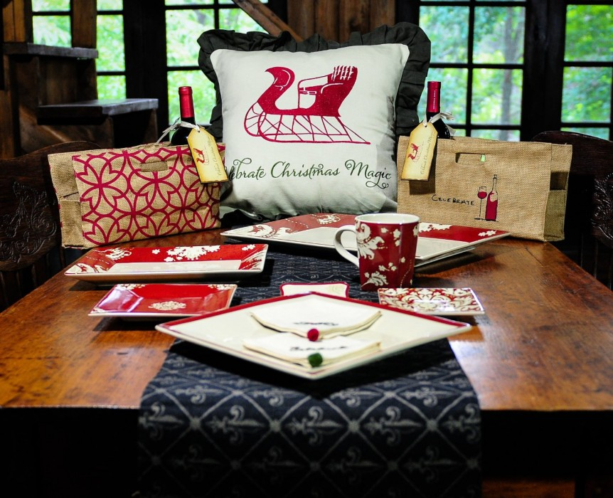 Christmas Pillow Cover  Embroidered Red Sleigh