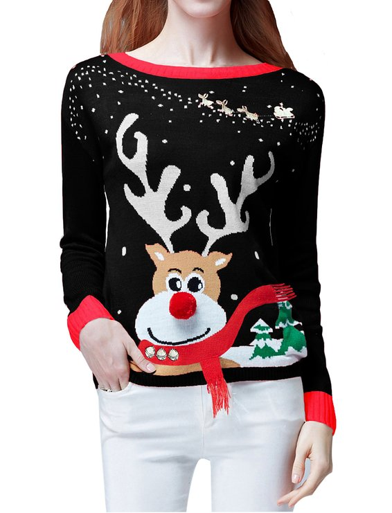 Christmas Raindeer 3D Nose & Scarf Ugly Pullover Sweater Jumper