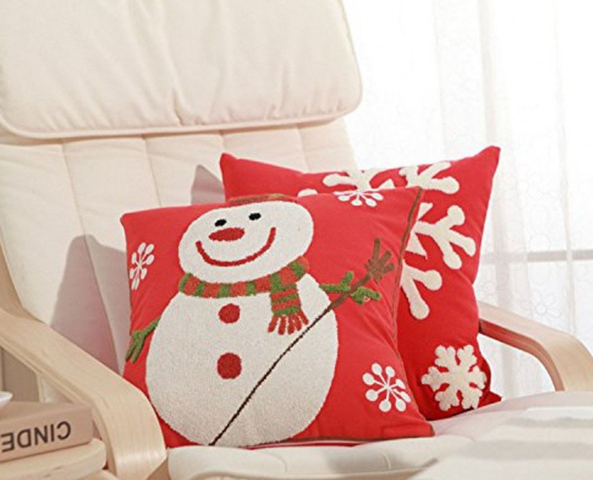 Christmas Snowman Throw Pillow Covers