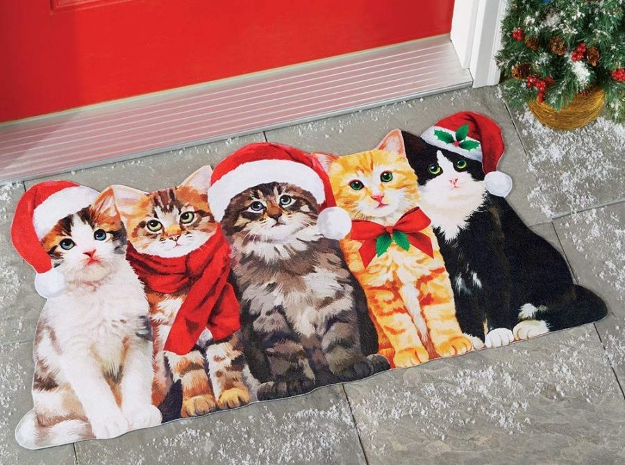 Cute Christmas Cats Welcome Door Mat