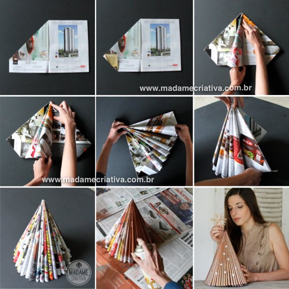 Steps for DIY Magazine Christmas Tree
