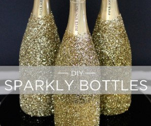 Decorated Wine Bottles for New Year Party