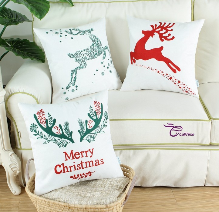 Decor Pillow Covers Christmas Holiday Reindeer