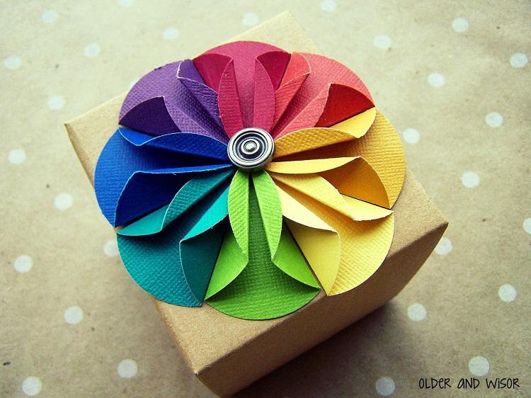 Folded Paper Flower Gift Topper