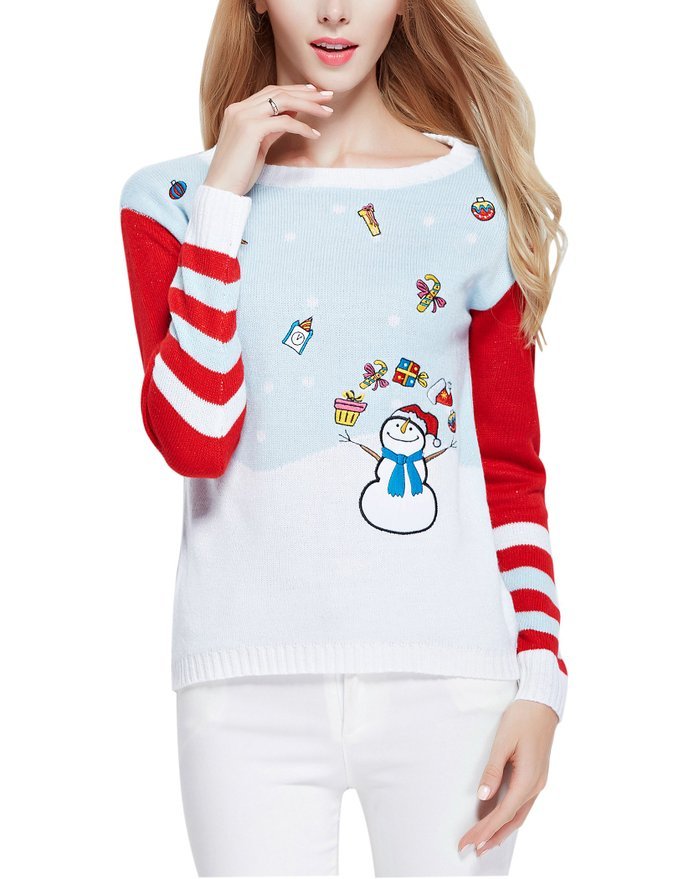 Girl Christmas Cute Santa Pullover Sweater Jumper