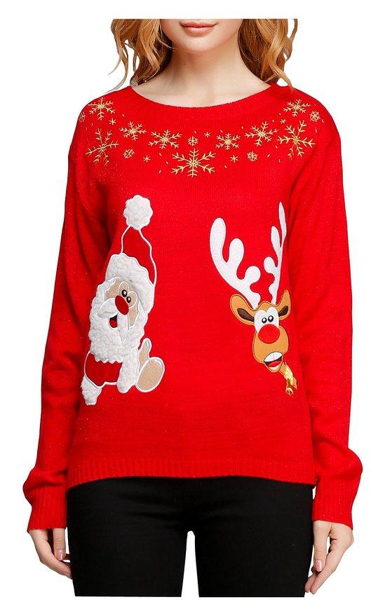 Girl Christmas Santa Reindeer Ugly Pullover