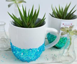 DIY Sparkly Mug Planters