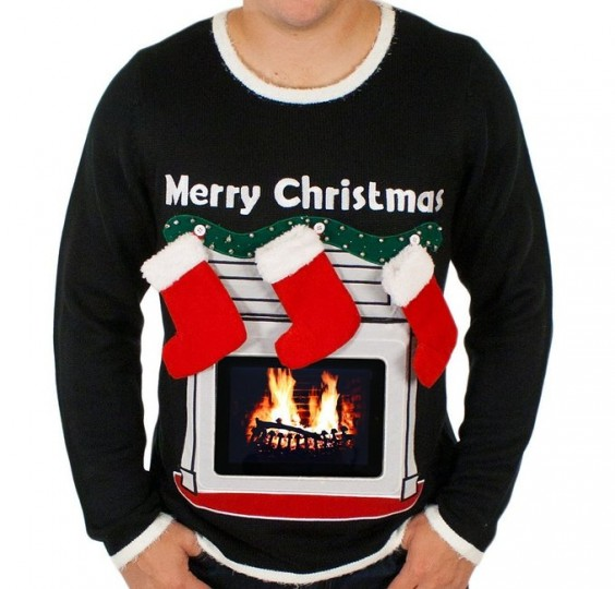 Lighted Fireplace Ugly Christmas Sweater