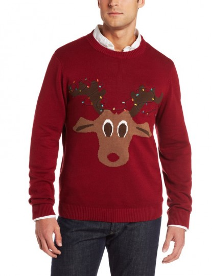 Men's Reindeer Lights Ugly Christmas Sweater