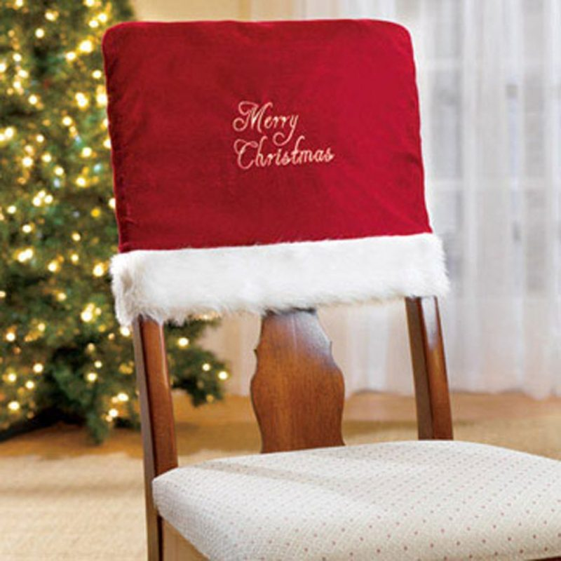 Merry Christmas Embroidered Red Chair Covers for Christmas Dinner Decor