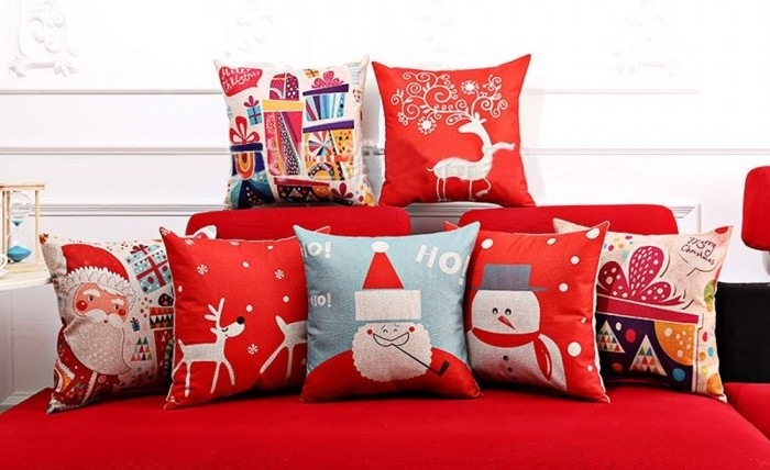Pillow Cover Colored Drawing Red Base Reindeer