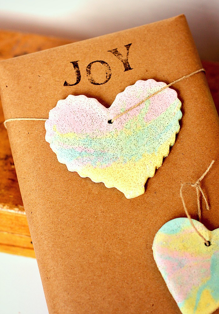 Rainbow Marbled Ornament for Gift Wrapping