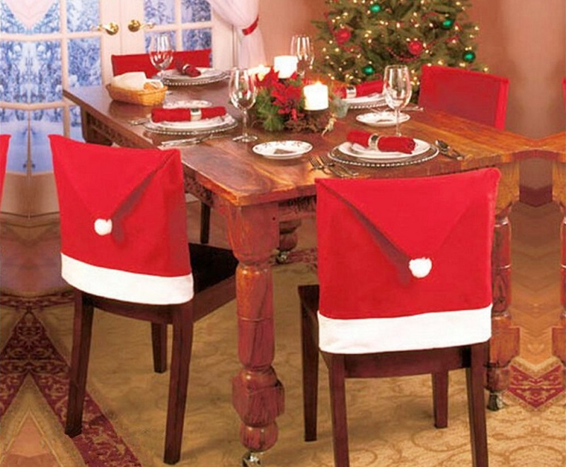 Santa Claus Hat Chair Back Cover Slipcovers Decoration