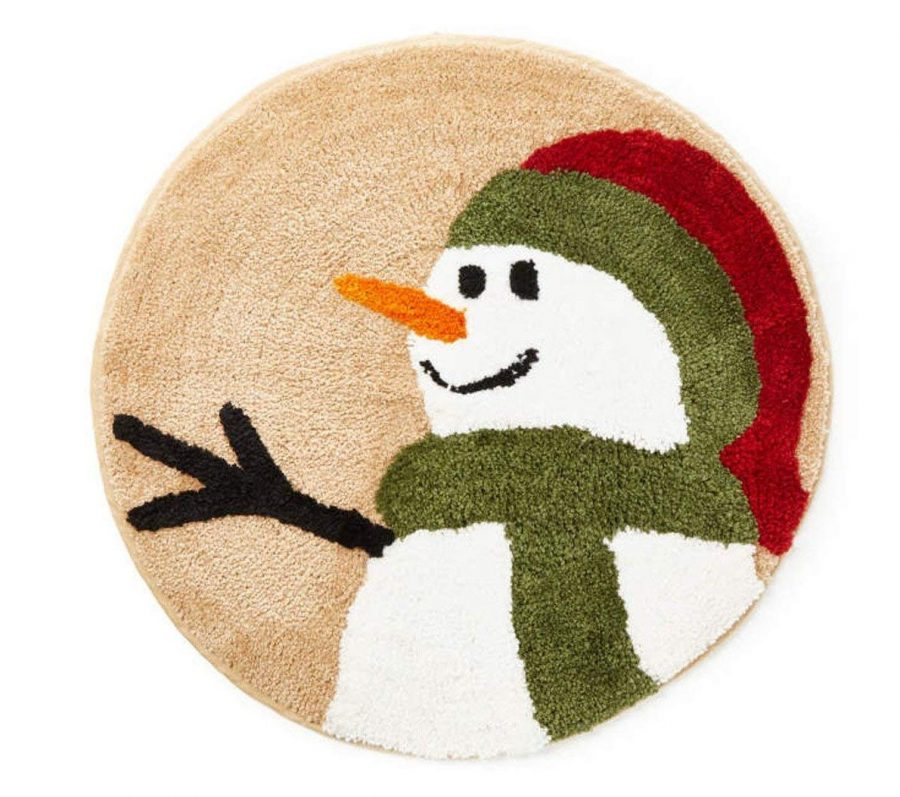 Snowman Land Bathroom Plush Rug