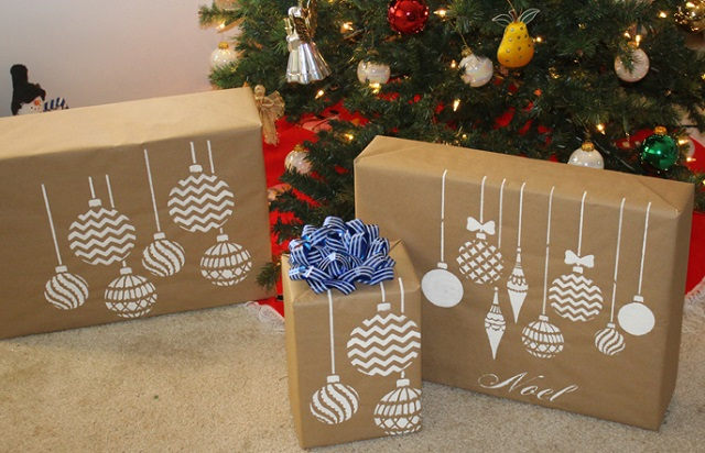 Stenciled kraft paper gift wrap