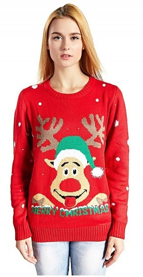Women's Christmas Reindeer Snowflakes Sweater Pullover