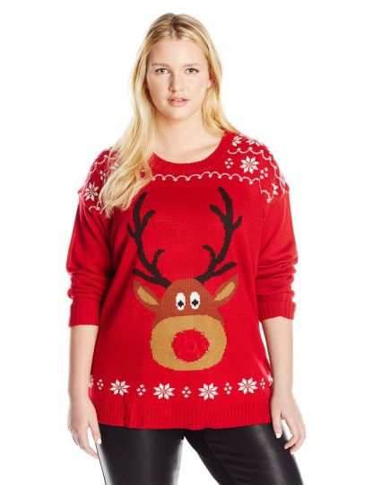 Women's Rudolph with Light-Up Nose Ugly Christmas Sweater
