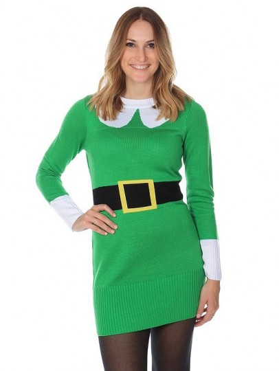 Women's Ugly Christmas Green Elf Sweater Dress